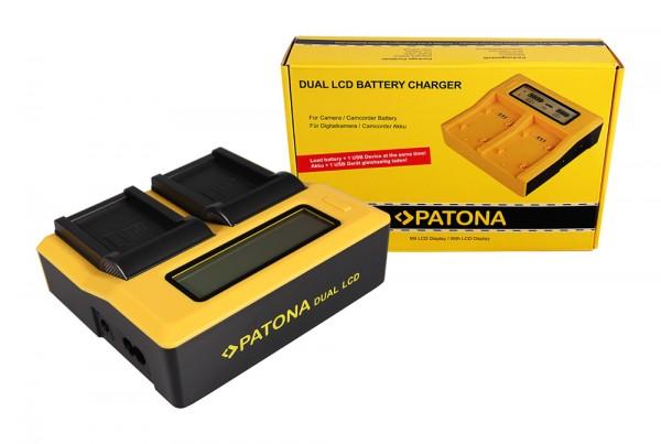 PATONA Dual LCD USB Ladegerät f. Samsung BP-90A HMX HMXE100P HMX-E100P HMXE10BP HMX-E10BP