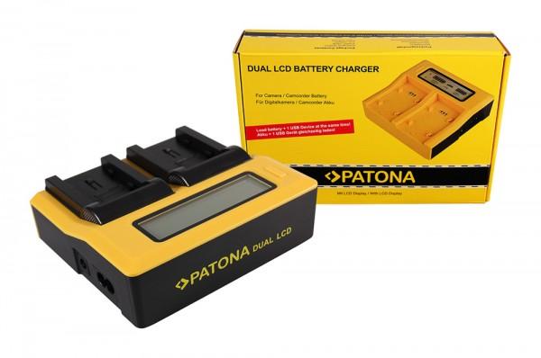 PATONA Dual LCD USB Ladegerät f. Canon Samsung BP-70A EOS C300 C300 PL Samsung BP-70A HA HA H1S