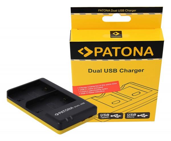 PATONA Dual Schnell-Ladegerät f. Canon LP-E6, LPE6 inkl. Micro-USB Kabel