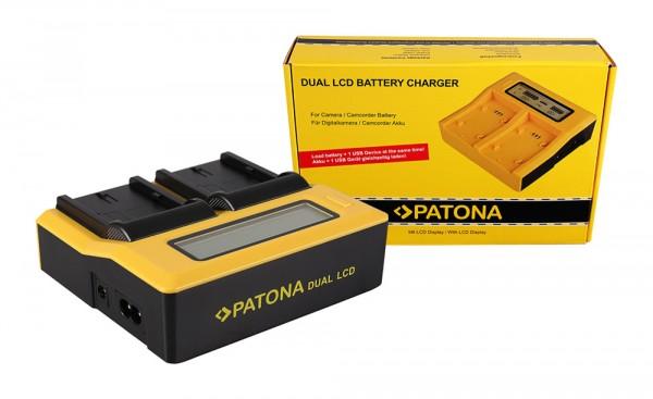 PATONA Dual LCD USB Ladegerät f. Canon BP508 BP-508 BP512 BP-512 BP522 BP-522