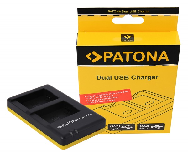PATONA Dual Schnell-Ladegerät f. Sony NP-FW50, NPFW50 inkl. Micro-USB Kabel